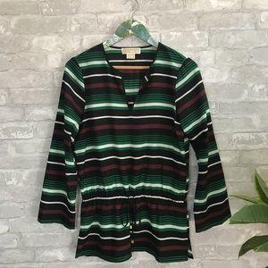 Michael kors striped tunic blouse